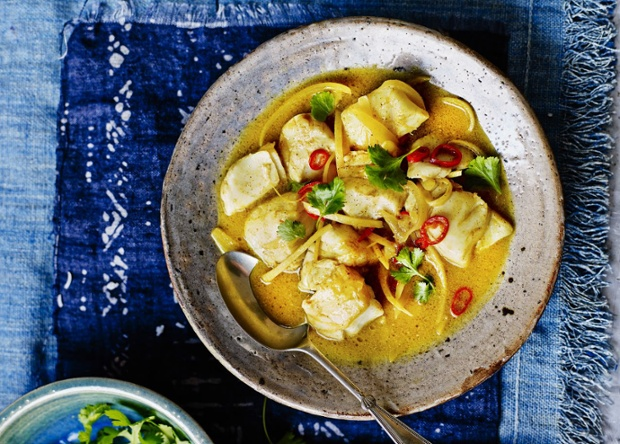 Keralan Fish Curry - Nigella Lawson from Nigella Summer Shot for Observer Food Monthly Food Styling - Emily Jonzon Prop styling - Tamzin Ferdinando